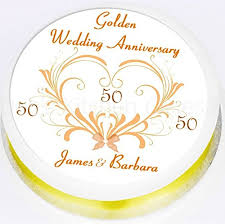 golden wedding cake topper personalised edible icing 7 5