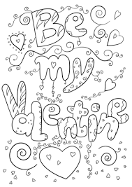 valentines color page be my valentine coloring page free printable coloring pages