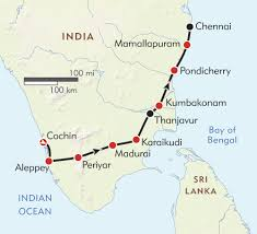 Horizon Air Route Map by Treasures Of South India Itinerary U0026 Map Wilderness Travel