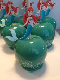 little mermaid themed candy apples made with our candy apple mix
