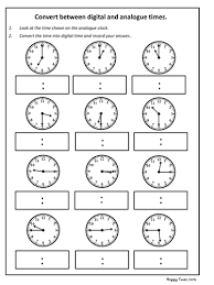 convert analogue to digital time worksheet ks2 maths by