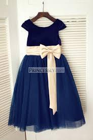 navy blue velvet tulle cap sleeve wedding flower dress with