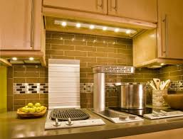 Led Backsplash by Puck Lights Under Kitchen Cabinets Made From Brown Wooden Floor