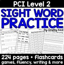 special education reading practice worksheets for pci level 2