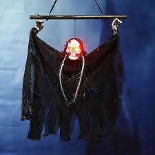Haunted House Decorations Halloween Electric Luminous Skeleton Hanging Head Induction Props