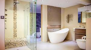 luxury frameless glass shower enclosure and bathroom displays at