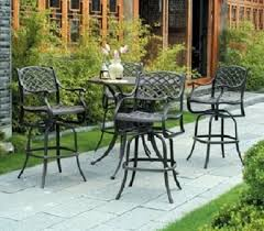 Bar Height Patio Set With Swivel Chairs Newport By Hanamint 4 Person Luxury Cast Aluminum Bar Height Set W