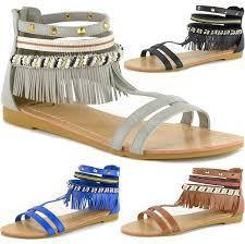 alpine swiss womens beaded u0026 studded fringe flat gladiator sandals