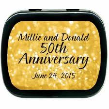 wedding anniversary favors golden mint tins