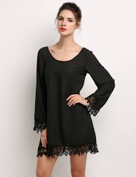 women casual long sleeve lace patchwork loose mini party dress