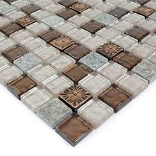 stone glass mosaic tile ice glass with marble backsplash