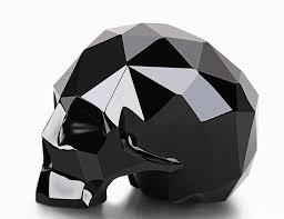 amazing 3 9 black obsidian carved faceted skull sculpture