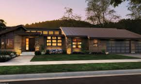 Small Contemporary House Plans Front Rendering Rambler Would Have To Add A Finished Basement