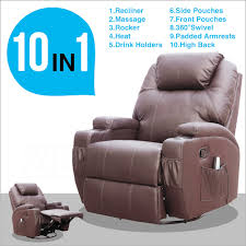 brown leather cinema electric massage rocking swivel gaming