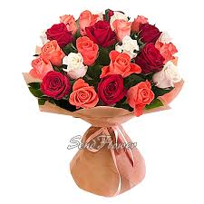 different color roses bouquet of different color roses 80 cm in moscow send flowers