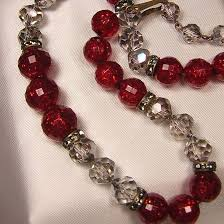 red crystal bead necklace images Faceted crystal necklace w red confetti beads sold ruby lane jpg