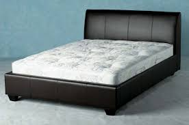 Black Leather Bedroom Furniture by Black Leather Wood Bed Frames With Boxspring 6ft Super King