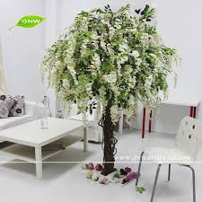 gnw bls053 white color artificial wisteria tree for wedding use