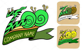 name ribbon zoo logo or label with ribbon and title company name stock