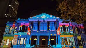 creative lights projector on house sweet