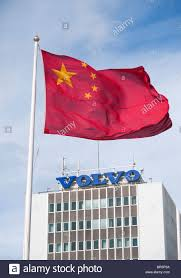 Chineses Flag Chinese Flag Flying Over Volvo Factory At Gothenburg In Sweden