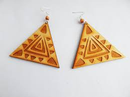 funky earrings triangle earrings wooden jewelry handmade wood funky unique the