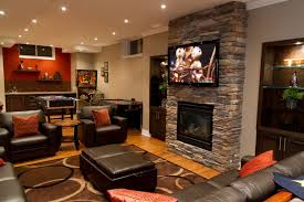 home design basement ideas cozy basement ideas basement family room with brick fireplace