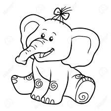 coloring book for children education game elephant royalty free