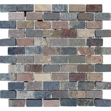 Slate Tile Kitchen Backsplash Mixed Brick 12 In X 12 In X 10 Mm Tumbled Slate Mesh Mounted