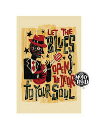 blues music folk art poster 12x18 by grego from mojohand com