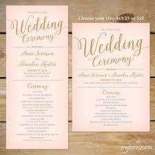 wedding program size blush pink and gold wedding program printable printable