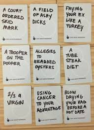 hilarious ideas for blank cards in cards against humanity game or