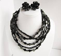 black beaded necklace images Buy vintage signed vendome long jet black beaded necklace clip JPG