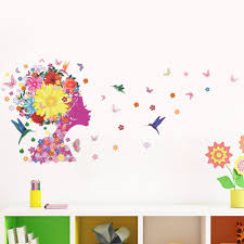 Wall Decals Patterns Color The by Colorful Flowers Fairy Wall Art Mural Decor Home Decor Wall