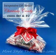clear gift wrap make inexpensive gift baskets that look expensive