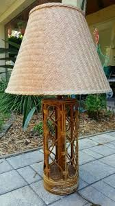 Rattan Table Lamp Vintage 1960 U0027s Bamboo Rattan Table Lamp Frankl Woven Shade Mid