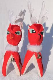 Christmas Decorations Red Deer by Vintage Christmas Decorations Lot Plastic Deer Red Velvet