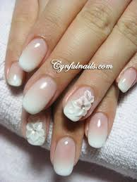 wedding nail design floral french ombre beautiful pink and