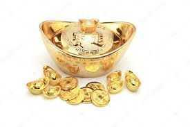 new year coin new year gold coins and ingots ornament stock photo