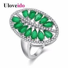 women jewelry rings images Uloveido green leaf costume jewelry rings for women wedding ring jpg
