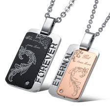 his and hers dog tags his hers square stainless steel matching couples pendants