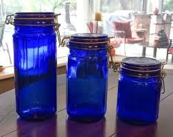 cobalt blue kitchen canisters vintage cobalt blue glass storage jars in from tryst vintage