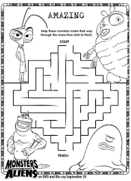 monsters vs aliens maze printable printables for kids u2013 free