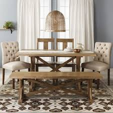farmhouse table with bench and chairs farm table collection wood target