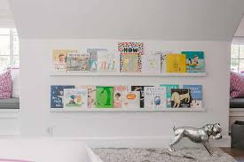 kid room with stacked book ledges transitional u0027s room