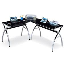 L Shaped Black Glass Desk Techni Mobili Hip Black Glass Corner Computer Desk
