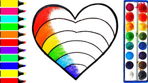 rainbow heart coloring pages learn drawing art colors for kids