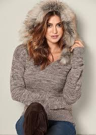 fur sweater venus faux fur trim sweater in taupe multi