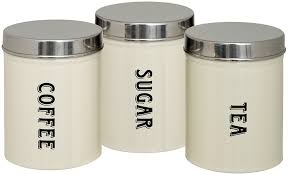Kitchen Storage Canisters Sets Amazon Com Maturi Tea Coffee Sugar Storage Canisters Set Of 3