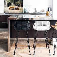 Rattan Kitchen Furniture Furniture Rattan Counter Stools With Back In Black And White Also